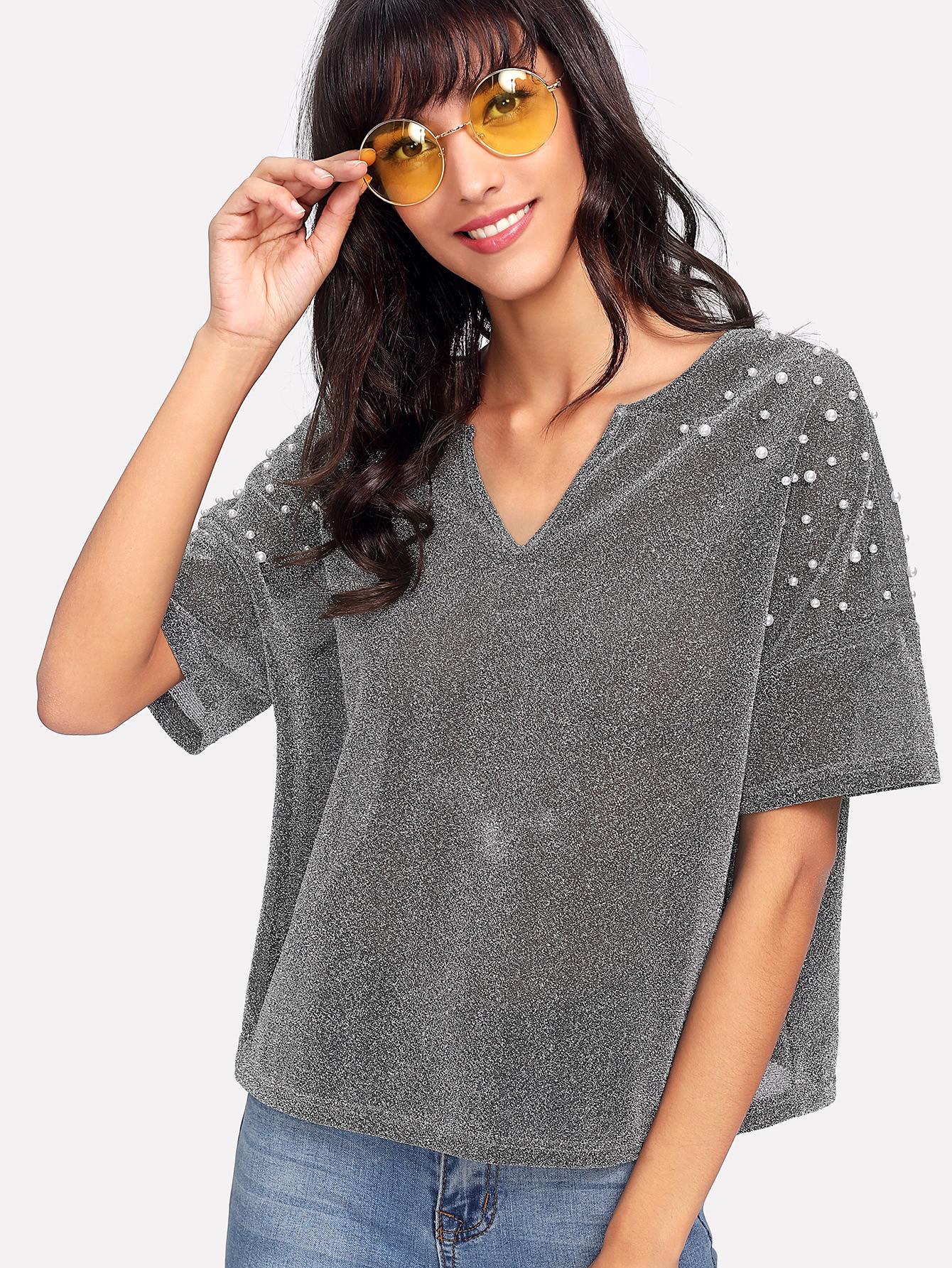 Блузка с коротким рукавом серая