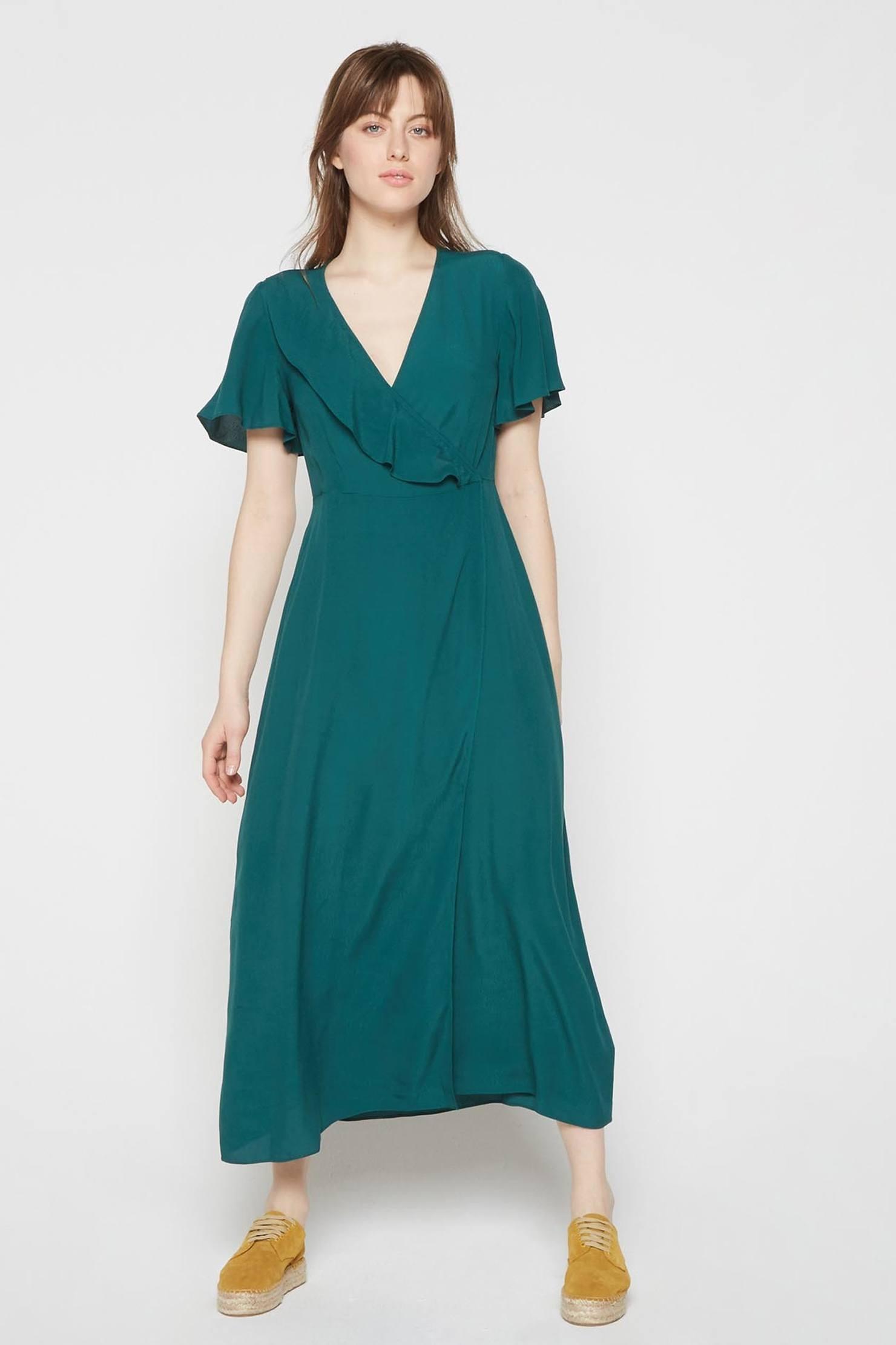 Платье с запахом бирюзовое