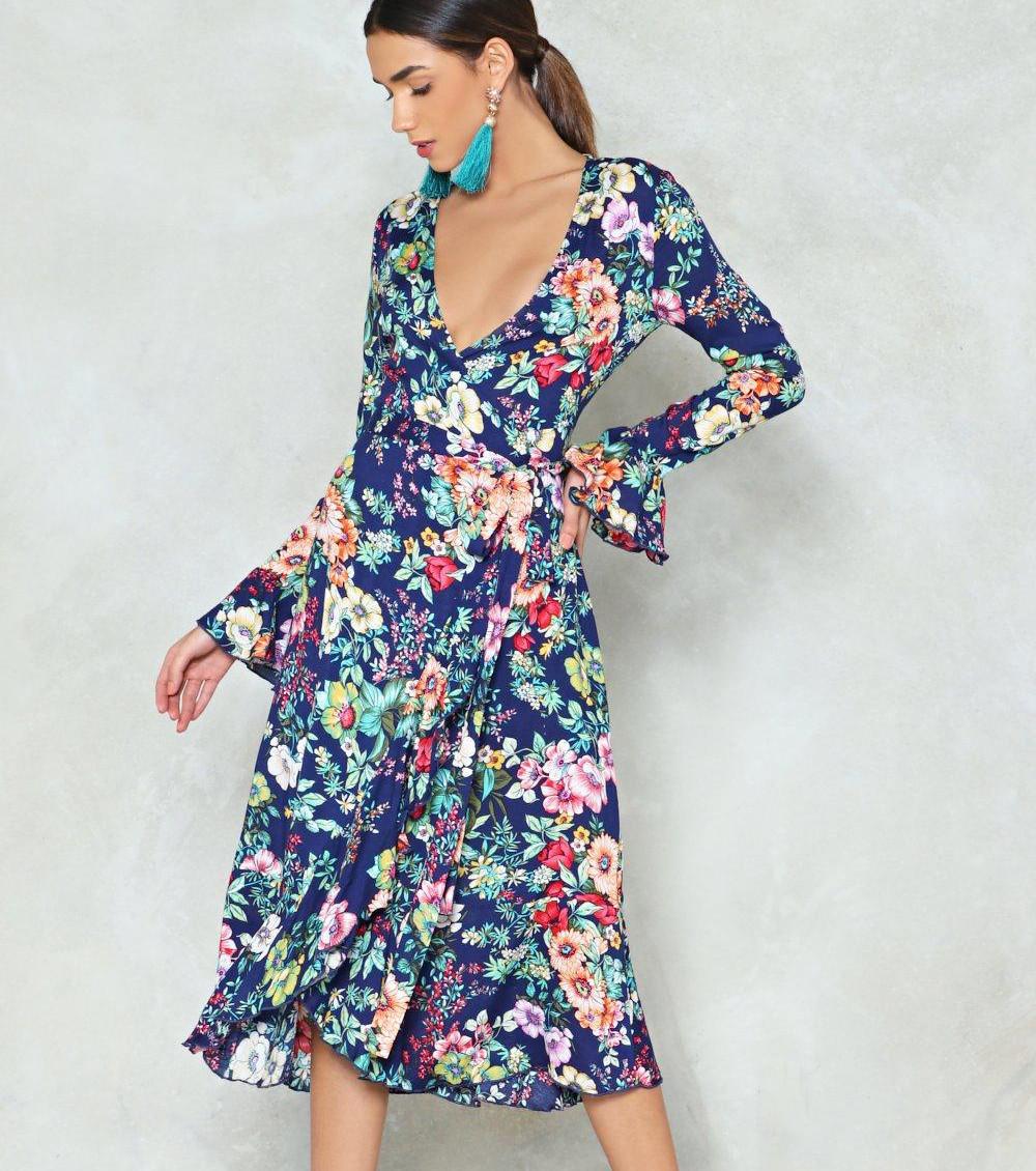 Платье с запахом синее