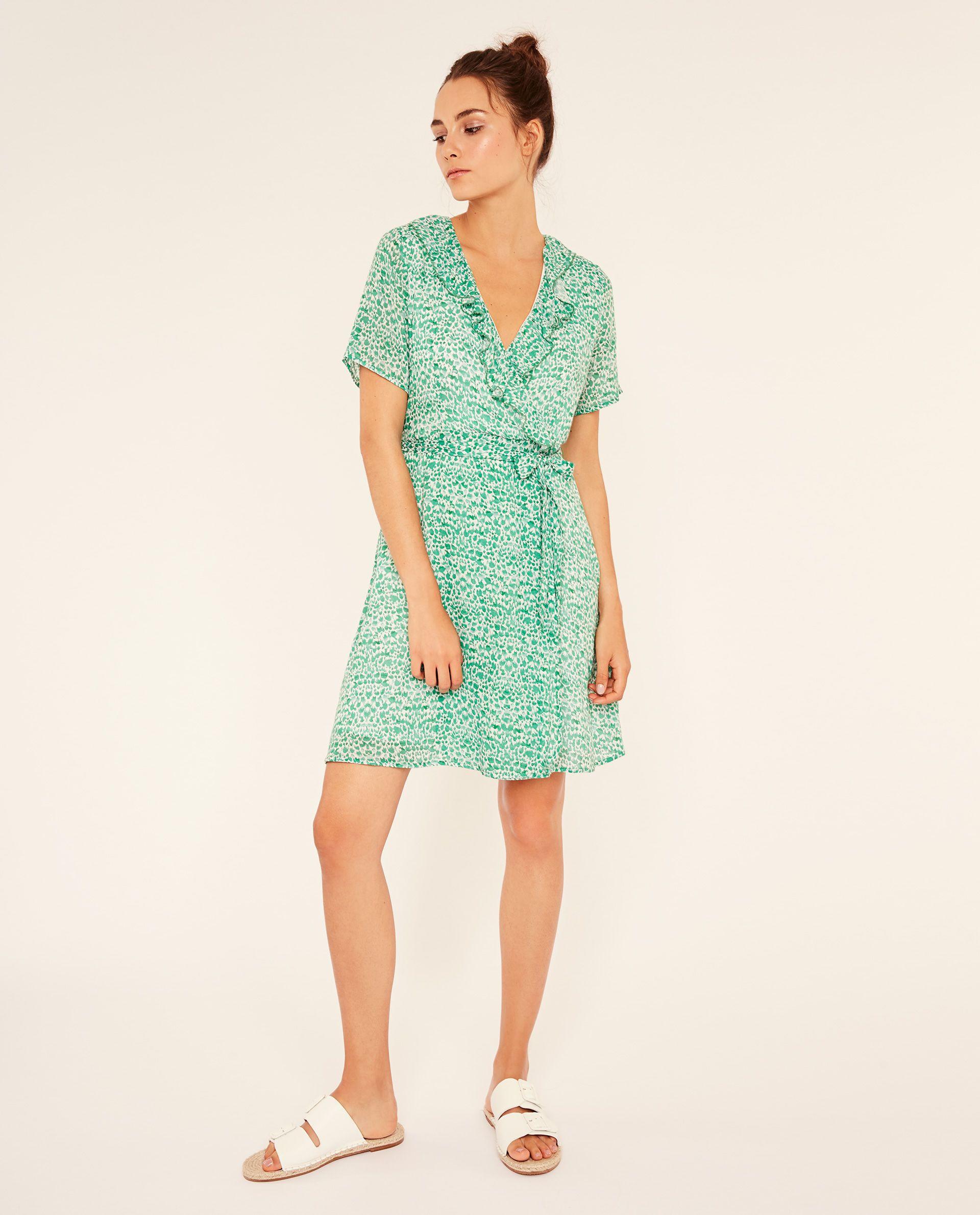 Платье с запахом зеленое