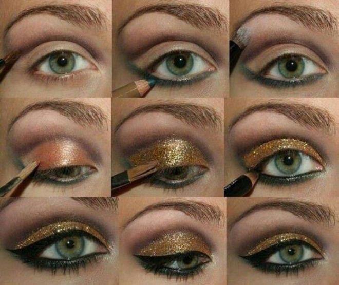 вечерний макияж для зеленых глаз фото поэтапно засветах видна