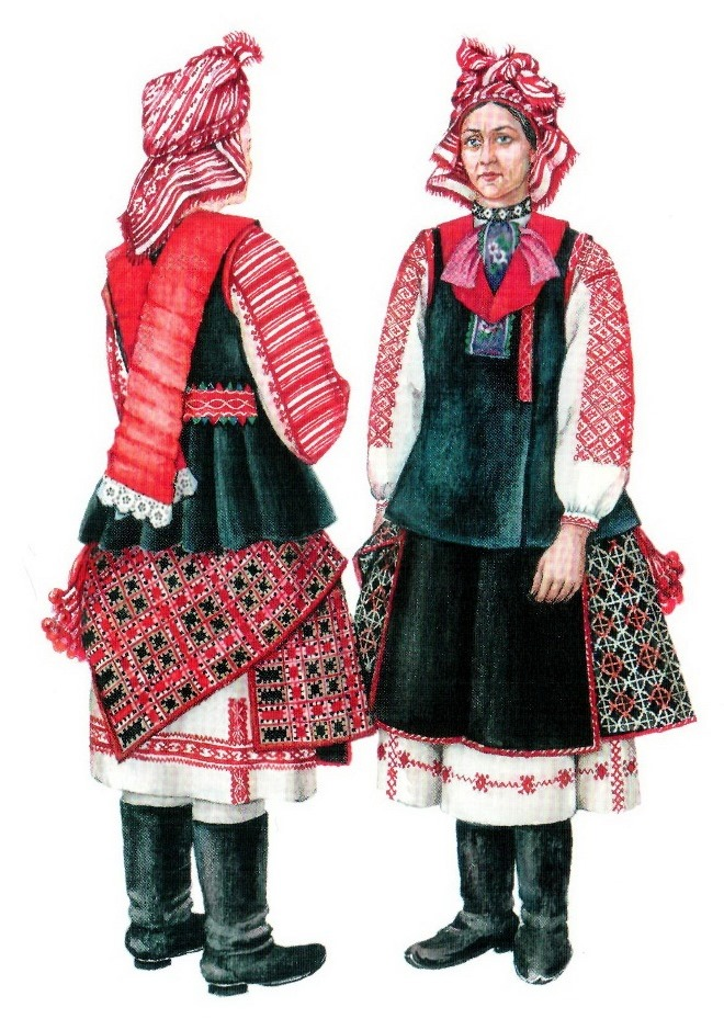 Мужской и женский национальный костюм белорусы рисунки