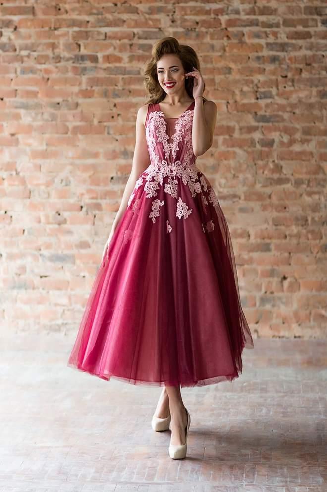 396721156b5e421 Платье с Пышной Юбкой до Колена, Платье Миди с Широкой Юбкой и ...