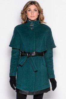 Темно-зеленое пальто с кожаными вставками