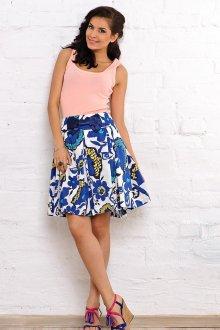 Пышная сине-белая юбка с цветочным принтом с розовым топом