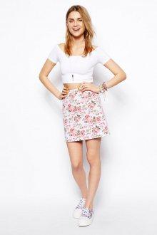 Бело-розовая джинсовая юбка с цветочным принтом