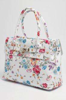 Белая кожаная сумка в цветочках