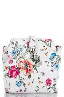 Белая кожаная сумка с цветочным принтом