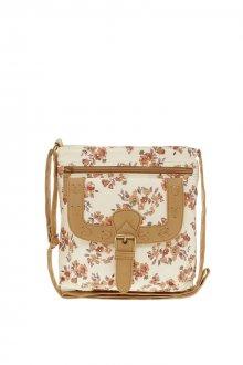 Коричнево-бежевая маленькая сумка с цветочным принтом
