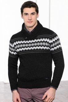 Черно-белый мужской джемпер с принтом
