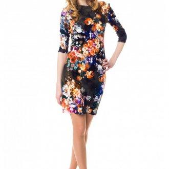 Короткое цветочное платье