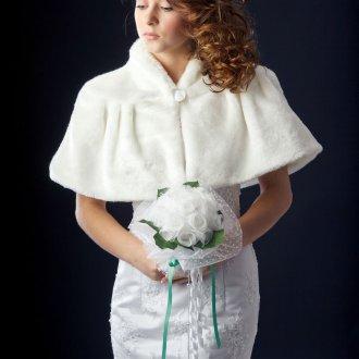 Свадебное белое меховое болеро