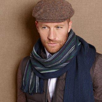 Мужской теплый шарф в полоску