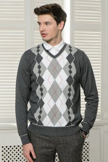 Серо-белый мужской пуловер с геометрическим узором