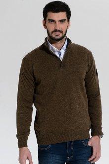 Коричневый мужской пуловер с вырезом