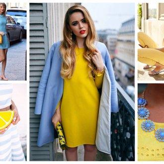 Сочетание голубого и желтого в одежде