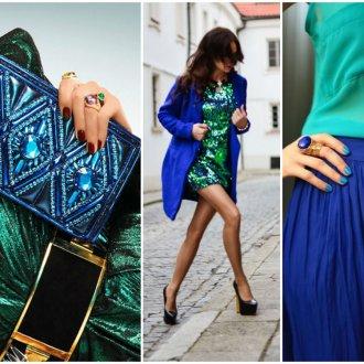 Сочетание синего и зеленого цветов в женской одежде