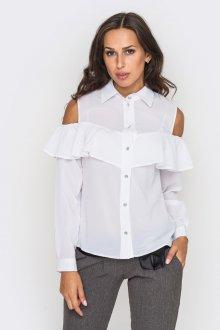 Белая офисная блузка с открытыми плечами