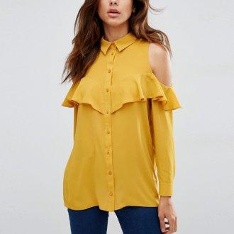 Желтая блузка с длинными рукавами и открытыми плечами