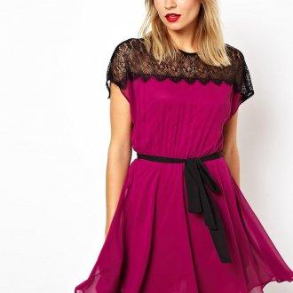 Платье цвета маджента и черный