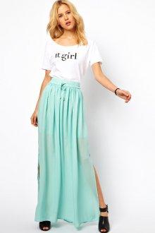 Мятная юбка с белым топом