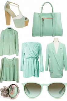 Модная мятная одежда и аксессуары