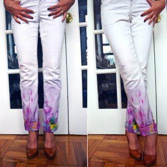 Покрашенный низ джинс