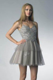 Серебристое платье с пышной юбкой