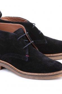 Черно-коричневые женские замшевые ботинки