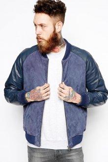 Синяя мужская замшевая куртка