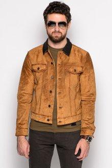 Яркая коричневая мужская замшевая куртка