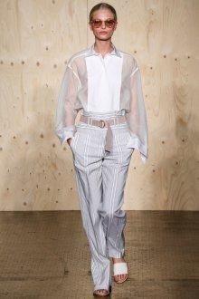 Серо-белые классические брюки в полоску