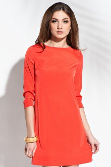 Стильное короткое коралловое платье