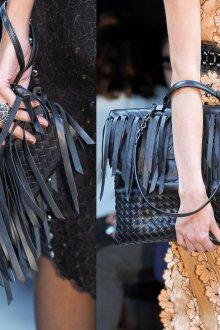 Черные кожаные сумки с бахромой
