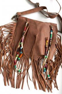 Кожаная коричневая сумка с бахромой