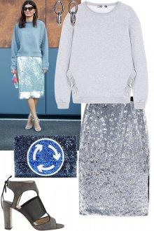 Серебристая юбка с пайетками с серой кофтой