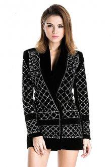 Черный женский бархатный пиджак со стразами