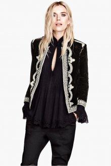 Черный женский бархатный пиджак с вышивкой