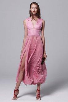 Красно-бело-розовые туфли с розовым платьем