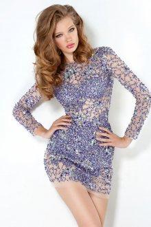 Коктейльное фиолетовое платье с камнями