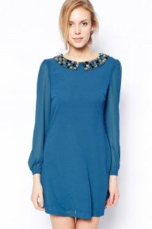 Повседневное синее платье с камнями