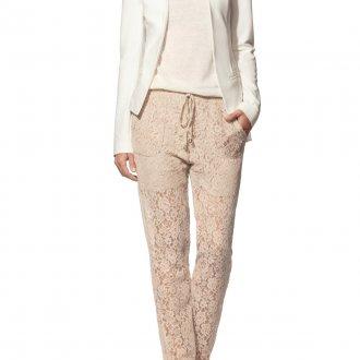 Бежевые кружевные брюки
