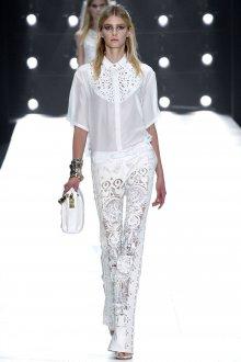 Белые стильные кружевные брюки