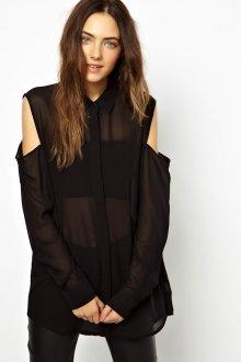 Черная прозрачная рубашка с открытыми плечами