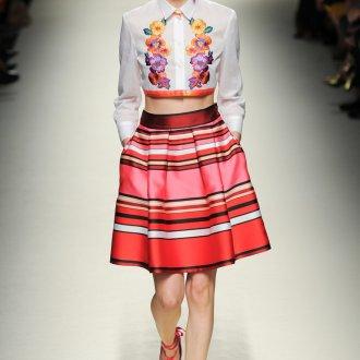 Разноцветная юбка в горизонтальную полоску