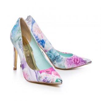 Мятные туфли с цветочным принтом