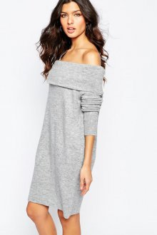Серая кофта-платье с открытыми плечами