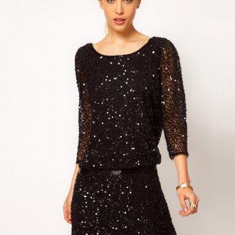 Черное платье с пайетками в ретро стиле