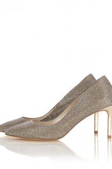 Блестящие туфли на среднем каблуке