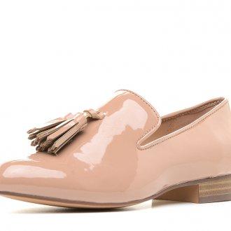 Блестящие персиковые туфли на низком каблуке